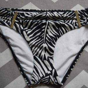 Victoria secret Palm Swim Bottom Gold Bars NWT S